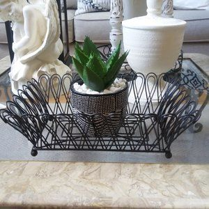 Vintage INSPIRED FARMHOUSE Black WIRE Basket